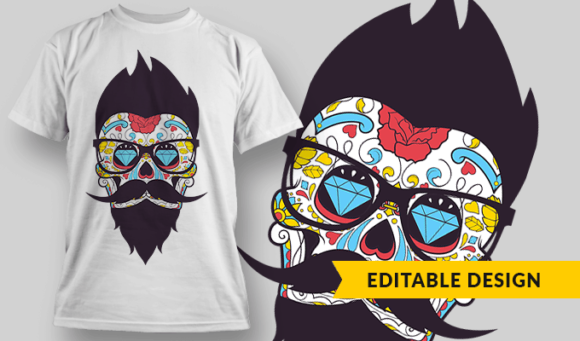 Hipster Sugar Skull With Glasses hipster sugar skull with glasses preview