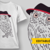 Pie (mirrored 3.14) owl with hat preview