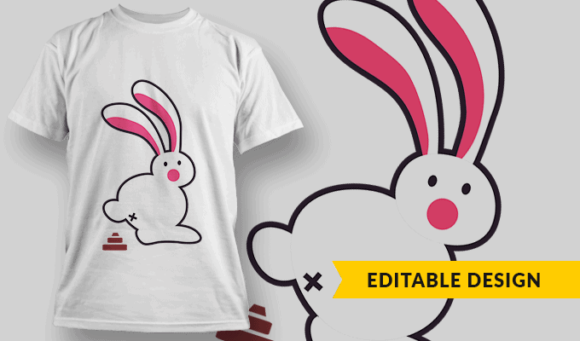 Popping Rabbit | Editable T-shirt Design Template 2338 1