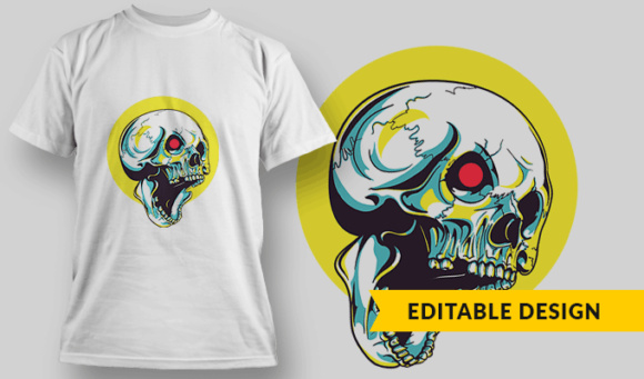 Robot Skull   Editable T-shirt Design Template 2339 1