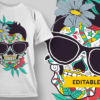 Snowman sugar skull with glasses and flowers preview