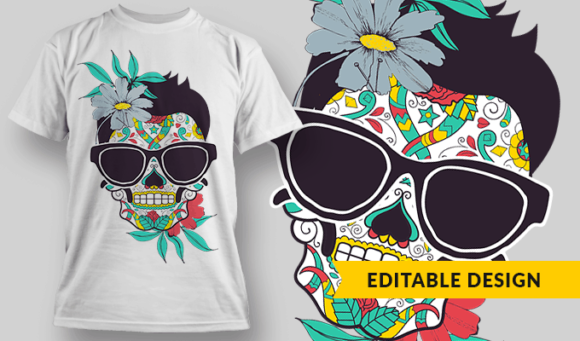 Sugar Skull With Glasses And Flowers sugar skull with glasses and flowers preview