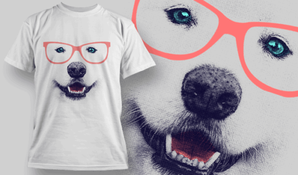 Samoyed With Glasses T-shirt Design Template | T-shirt Design Template 2509 dog 2 preview
