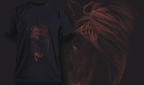 Horse With Combed Mane | T-shirt Design Template 2519