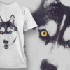 Husky With Heterochromia | T-shirt Design Template 2511 2