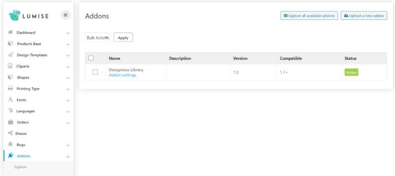 Designious Library Lumise Add-On for WooCommerce lumise backend