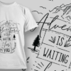 Adventure Is Waiting For You | T-shirt Design Template 2583 2