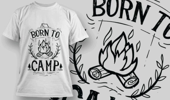 Born To Camp | T-shirt Design Template 2584