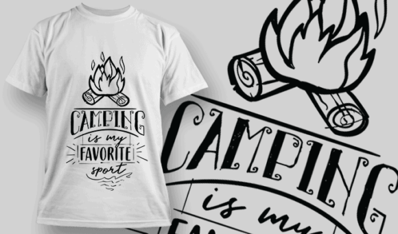 Camping Is My Favorite Sport | T-shirt Design Template 2586 camping is my favorite sport preview