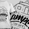 Camping Is My Favorite Therapy | T-shirt Design Template 2606