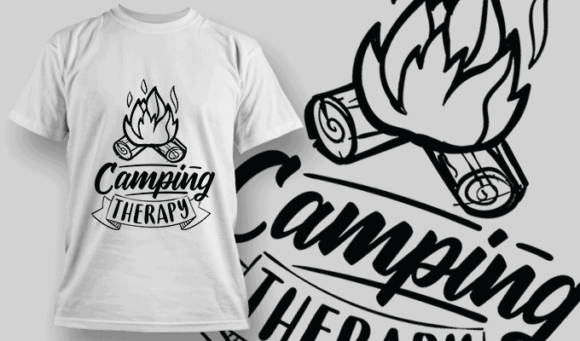 Camping Therapy   T-shirt Design Template 2587 camping therapy preview 1
