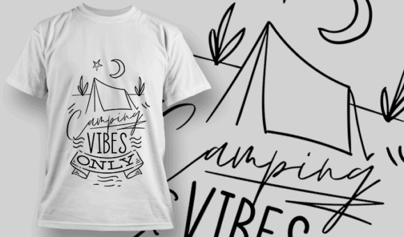 Camping Vibes Only   T-shirt Design Template 2608