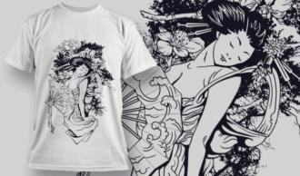 Geisha | T-shirt Design Template 2574