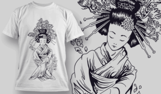 Geisha Hiding Two Tanto Under Sleeves | T-shirt Design Template 2575
