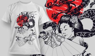 Geisha Holding A Fan Over A Tanto | T-shirt Design Template 2576