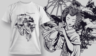 Geisha Holding An Umbrella | T-shirt Design Template 2577