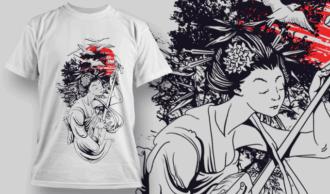 Geisha Playing Music | T-shirt Design Template 2578