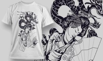 Geisha With Dragon | T-shirt Design Template 2579