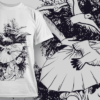 Geisha With Umbrella And Birds | T-shirt Design Template 2581