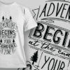 Adventure Begins At The End Of Your Comfort Zone | T-shirt Design Template 2597