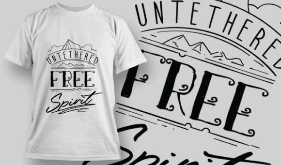 Untethered Free Spirit   T-shirt Design Template 2599