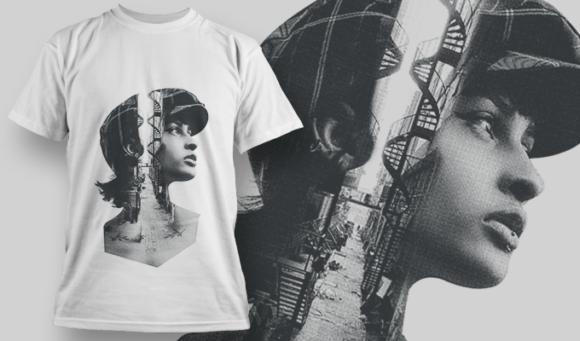 Double Exposure City | T-shirt Design Template 2710 1
