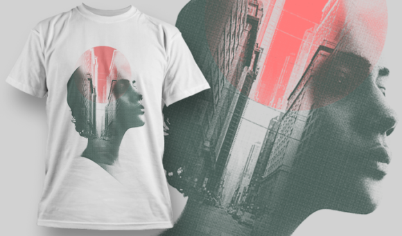 Double Exposure City | T-shirt Design Template 2711 1