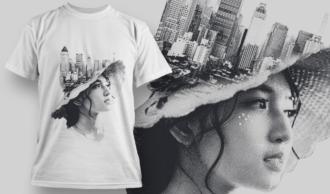 Double Exposure City   T-shirt Design Template 2714