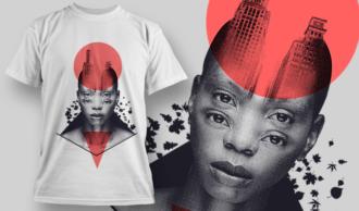 Double Exposure City   T-shirt Design Template 2718