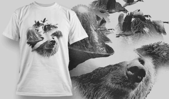 Bear Double Exposure | T-shirt Design Template 2700 1