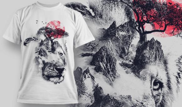 Lion Double Exposure Free T-shirt Design Template 2706 1