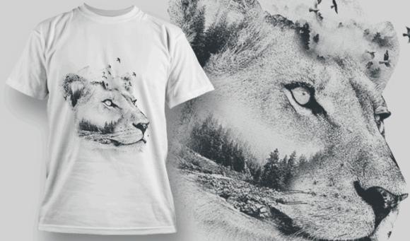 Lioness Double Exposure | T-shirt Design Template 2705 1