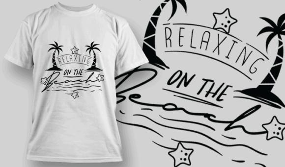 Relaxing On The Beach   T-shirt Design Template 2638