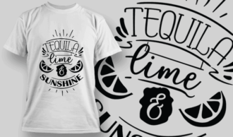 Tequila, Lime and Sunshine | T-shirt Design Template 2625
