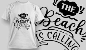 The Beach Is Calling   T-shirt Design Template 2622