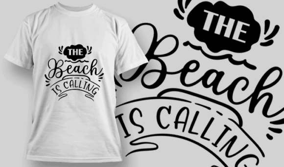 The Beach Is Calling | T-shirt Design Template 2622