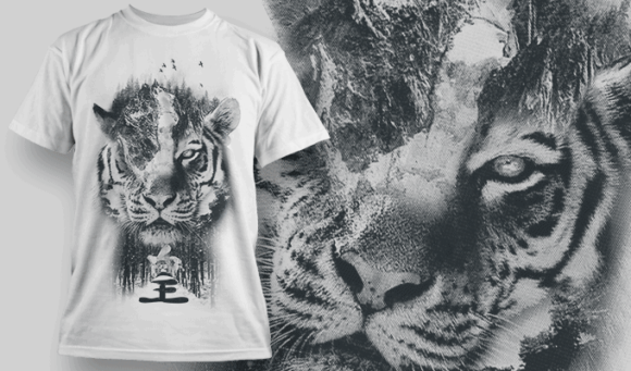 Tiger Double Exposure   T-shirt Design Template 2708 1