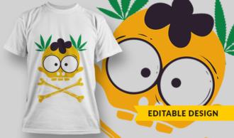 Cute Skull With Bones And Weed Laurels   T-shirt Design Template 2763
