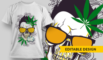 Skull With Glasses Smoking Weed | T-shirt Design Template 2760