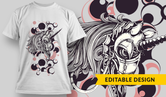 Armored Unicorn | T-shirt Design Template 2799