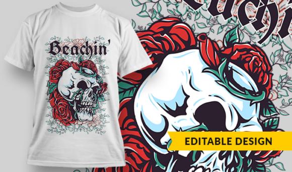 Beachin'   T-shirt Design Template 2819 1