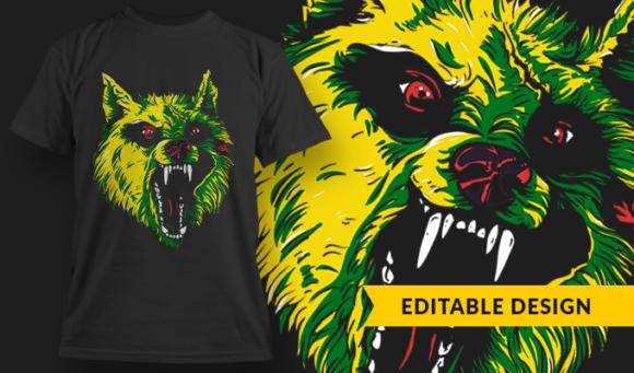 Crazed Zombie Wolf | T-shirt Design Template 2793 1