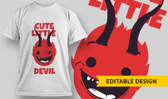 Cute Little Devil   T-shirt Design Template 2845