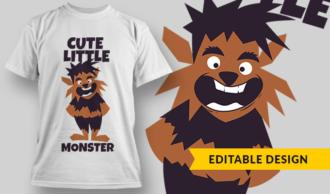Cute Little Monster   T-shirt Design Template 2846