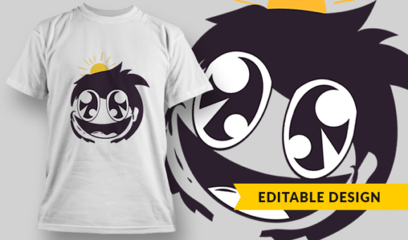 Happy Anime Face | T-shirt Design Template 2850 1