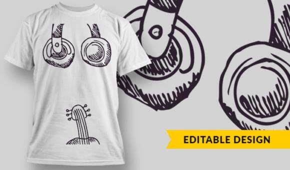 Headphones & Guitar | T-shirt Design Template 2802