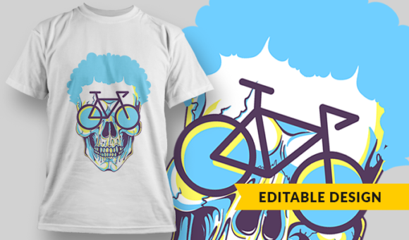 Skull With Blue Hair And Bike-Shaped Glasses | T-shirt Design Template 2853 1