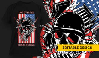 Land Of The Free, Home Of The Brave | T-shirt Design Template 2803