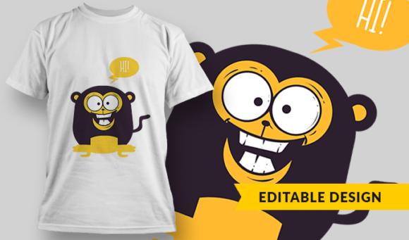 Baby Monkey   T-shirt Design Template 2856 1