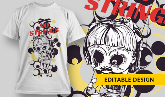 No Strings   T-shirt Design Template 2805 1